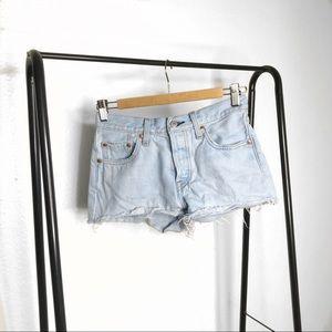 Levi's High Rise Cut Off Light Wash Denim Shorts